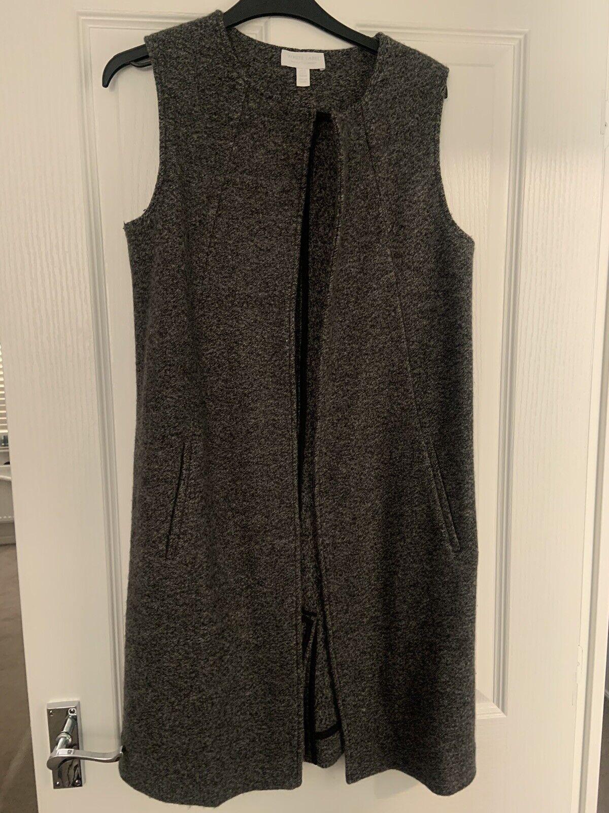 The White Company Charcoal 100% Wool Waistcoat Coatigan/waistcoat - UK Size 6/8