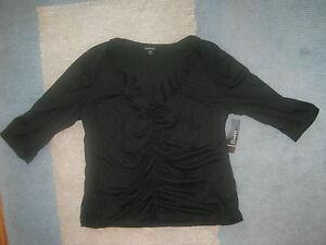 Womens-misses-shirt-top-Blouse-Black-Ruffle-Small-Medium-Large-XL-2XL-NWT-NEW