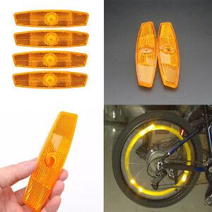 4-Orange-Speichen-Fahrrad-Rad-Reflektoren-Set-Sicherheit-fuer-Road-Mountain-G4E5