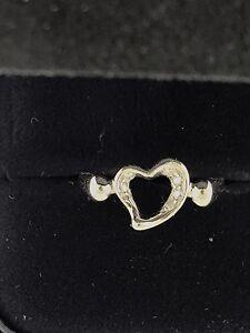 17ce6c486 Tiffany & Co. Elsa Peretti Platinum Diamond Open Heart Ring Size 5 1 ...