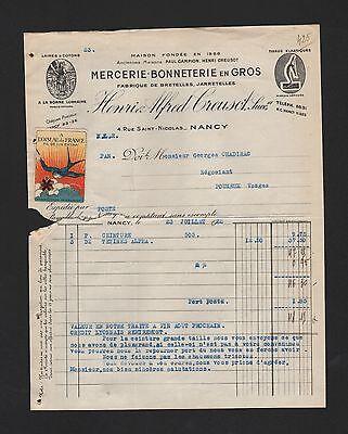 Geschickt Nancy, Rechnung 1932, Henri & Alfred Creusot Mercerie Bonneterie