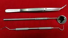 Basic Dental Instruments Set Mouth Mirror Explorer 5 Cotton Plier German