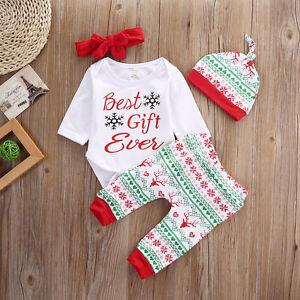 4 st ck s neugeborenes baby junge m dchen erstes weihnachten kleidung ebay. Black Bedroom Furniture Sets. Home Design Ideas