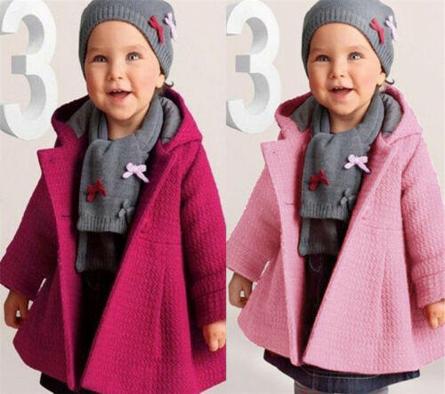 New Baby Toddler girls spring winter Horn Button Hooded Coat Outerwear Jacket