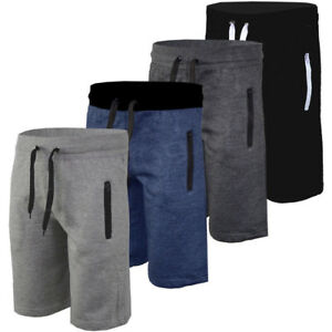 Mens-Plain-Gym-Fleece-Jogger-Shorts-Elasticated-Waist-Running-Zip-Pockets-Pants