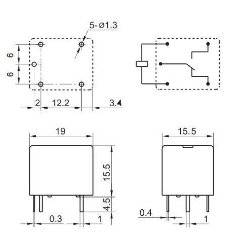 inverseurs Sous-miniature Haute Puissance 10 A PCB Relay: 5 V 12 V 24 V: SPST