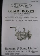 VINTAGE BURMAN GEARBOX 1928 ILLUSTRATED SPARES BOOK