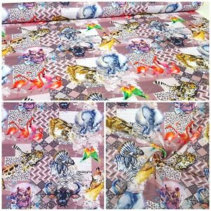 GéNéReuse Deco Meubles Patchwork Substances Coton Rideau Afrique Animaux 1432/012-afficher Le Titre D'origine