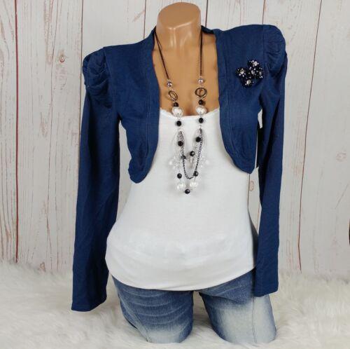Bolero Kurz-Jacke Jeans Optik Puffärmel Schmuck-Steine blue denim 34 36 38 40