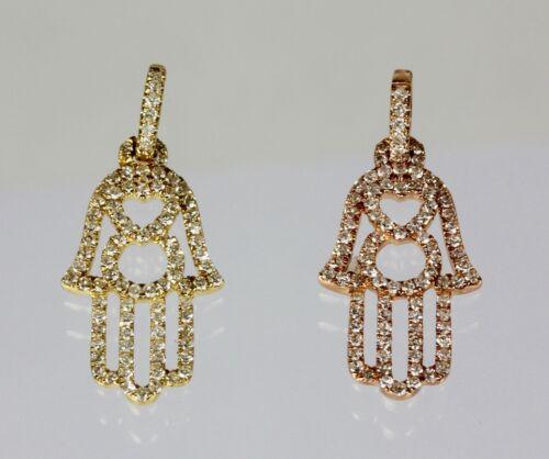 Hamsah Pendant with Diamond 14k Rose,Yellow or White Gold Hand Dia 0.22 cts