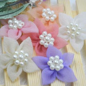 6CM-10pcs-Organza-Satin-Ribbon-Flowers-Rose-Pearl-Craft-Wedding-Decor-E299