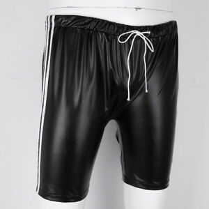 Men's Faux Leather Shorts Drawstring Side Stripe Basket Ball Shorts Sports Boxer