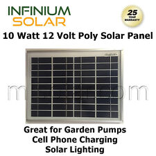 10W 10 W 12V Infinium Solar Panels Off Grid Battery Charging Lighting, Pump A++