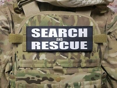 """3x8/"""" SEARCH AND RESCUE Hi Viz Orange Neon Green Tactical Hook Morale Patch"""