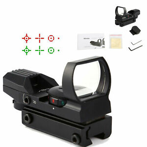 Red-Dot-Sight-Reflex-Green-Holographic-Scope-Tactical-Rifle-Mount-20mm-Rails-BLK