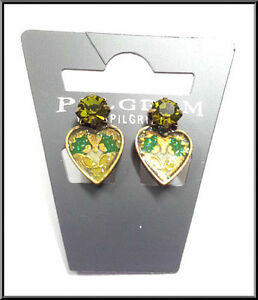 NEW-PILGRIM-GOLD-EARRINGS-GREEN-CRYSTAL-ENAMEL-HEART-DELICATE-FLOWERS-CLIP-ON