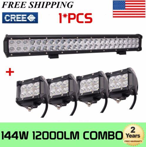 "4X 4/"" 18W Pods Cube Pod UTE Truck GMC 23/""inch 144W Offroad Led Work Light Bar"