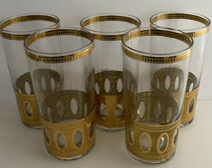 Vintage-5-Culver-22k-Gold-Highball-Glasses-Antigua-Signed-MCM-Tumbler-Barware