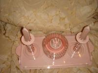 antique vintage lucite phenolic bakelite pink dressing table set tray art deco