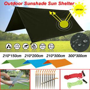 Tent-Tarp-Rain-Sun-Shade-Hammock-Shelter-Camping-Picnic-Pad-Mat-Poles