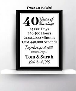 Image is loading Personalised-40th-Ruby-Wedding-Anniversary-Gift-Print- Husband-  sc 1 st  eBay & Personalised 40th Ruby Wedding Anniversary Gift Print Husband Wife ...