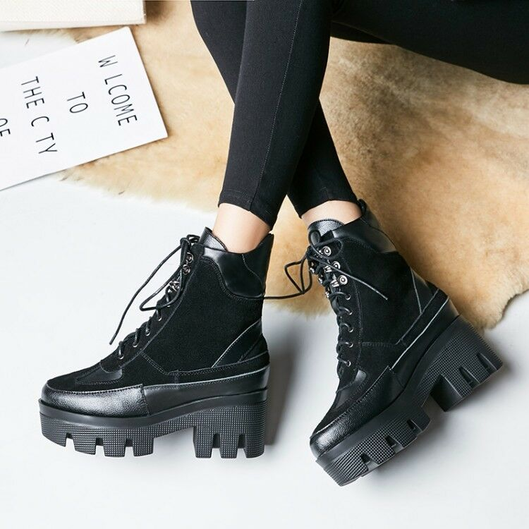 Fashion Womens Punk Block Chunky Mid Heels Lace Up Shoes Motorcycle Ankle Boots