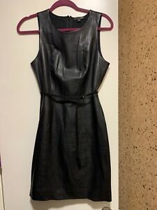 Saba-Black-Leather-Front-Sleeveless-Sheath-Dress-Sz-6-US-10-AU-695-NWT