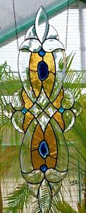 Bleiverglasung Facetten- Fensterbild m. Echt- Antikglas u. Achatsch. in Tiffany