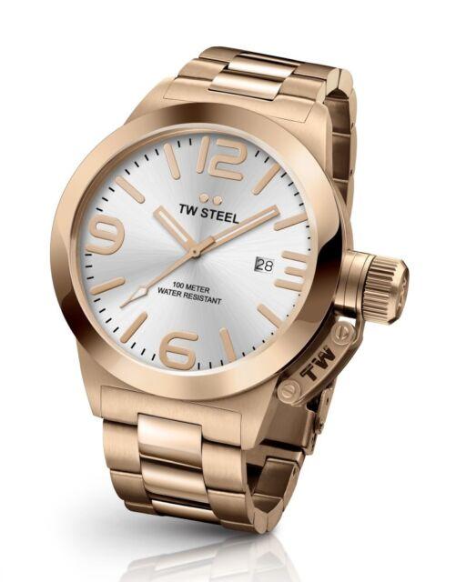 00e3942b80 Tw Steel CB161 Hombre Oro Rosado 45MM Canteen Reloj - 2 Años de Garantía