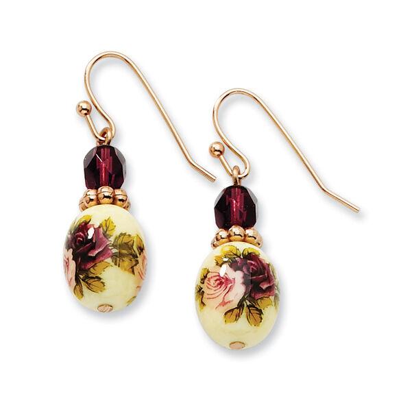 1928 Jewelry Rose Tone Dark Purple Crystal Amp Fl Decal Dangle Earrings Ebay