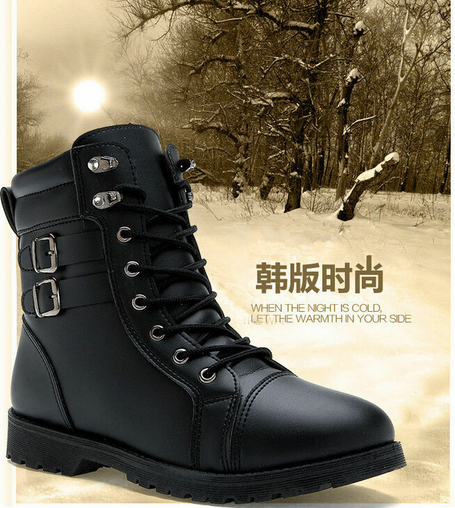 Warm Winter Mens Leather Outdoor Combat Army Boots Lace-up High Top shoes 520l