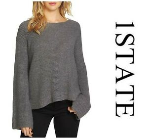 7fc043a524b81b Details about 1.STATE SEXY HEATHERED BELL SLEEVE PULLOVER SWEATER Sz L NEW