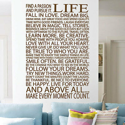 Life Wall Art Wall Quotes Wall Stickers printOK Art Deco Style