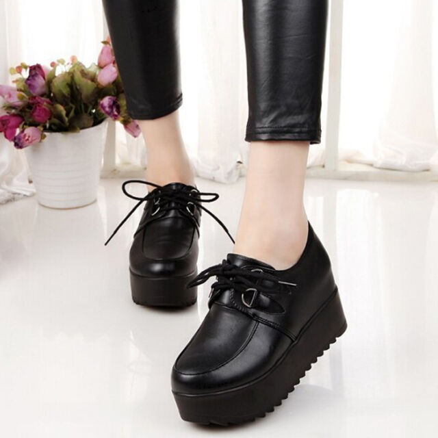 Hot Sale Women Round Toe Shoes Fashion High Platform Flats Girl's Lace Up Shoes