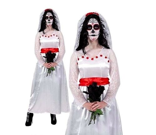 Ladies MEXICAN BRIDE OF THE DEAD Skull Sugar Fancy Dress Costume UK Sizes 6-28