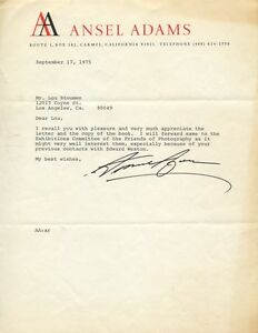 ANSEL ADAMS Typed Letter Signed Photographer Edward Weston