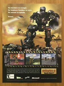 MechWarrior 4: Black Knight PC 2001 Vintage Print Ad/Poster Art Official Rare
