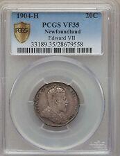 1904 H Canada Newfoundland 20 Cents, PCGS VF 35