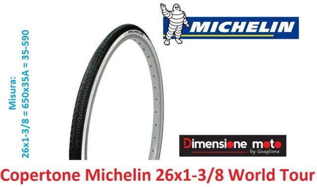 """Copertone Michelin 26x1-3/8 (650x35A) World Tour Bianco/Nero per Bici 26"""" Olanda"""