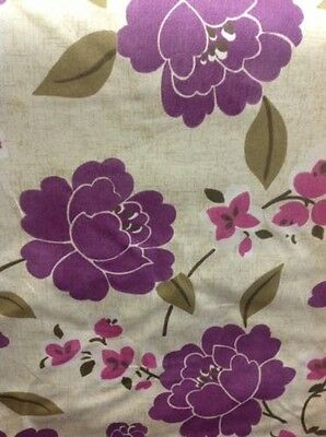 Fryetts Floral Design Fabric In Purple. By The Metre