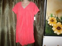 S Bobbie Brooks Soft Front Zip Cover-up Coral Solid Polyester Pockets