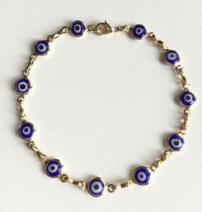 Image Is Loading 18k Gold Filled Blue Evil Eye Bracelet 7