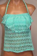 NWT Hula Honey Swimsuit Bikini Tankini Top Sz L SFM Crochet Bandeau Strap