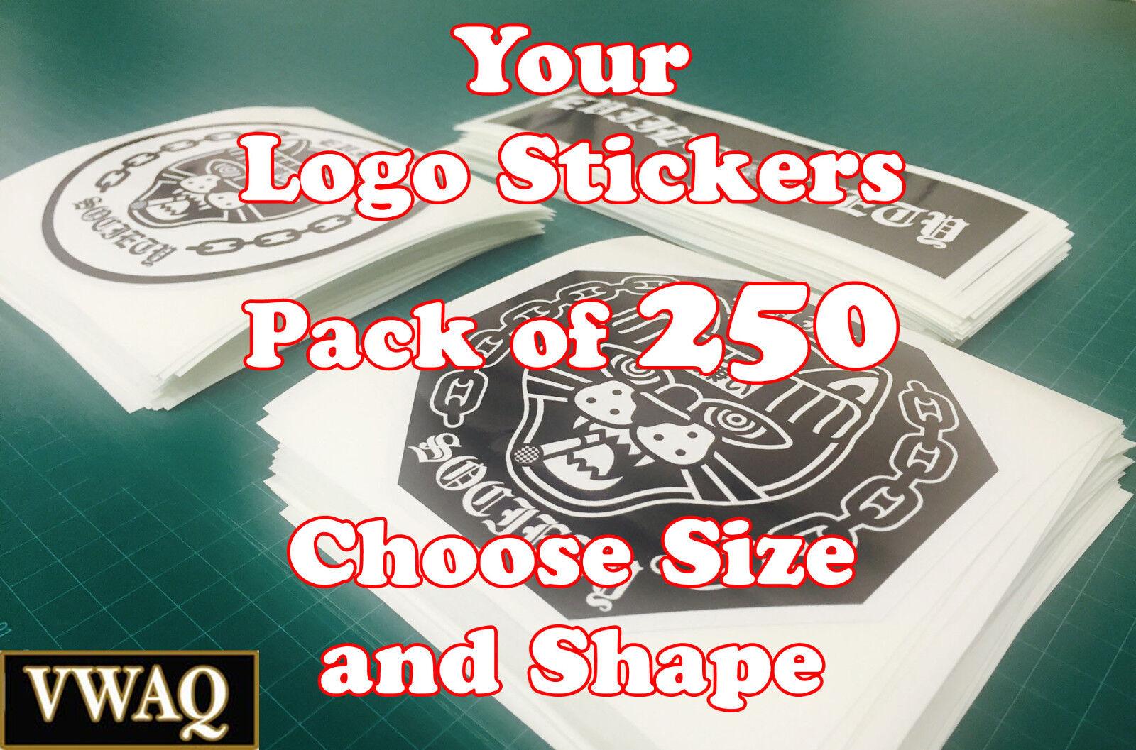 Logotipo personalizado pegatinas Paquete de 250 su diseño de logotipo pegatina de vinilo grabados vwaq