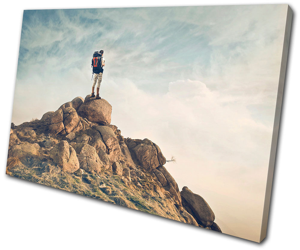 Sports Boulder Backpacking  SINGLE Leinwand Wand Kunst Bild drucken