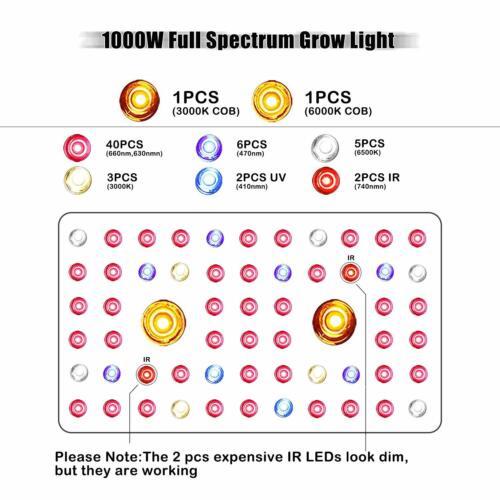 1000W Full Spectrum 2xCOB LED Grow Light 6000K//3000K for Indoor Hydro Plant Herb