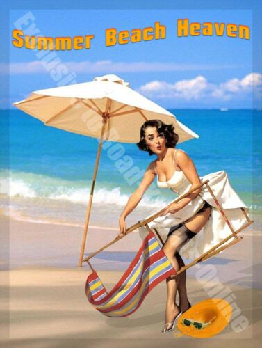 Summer Beach Heaven Seaside Pin-up Deck Chair Holiday Sand Large Metal Tin Sign