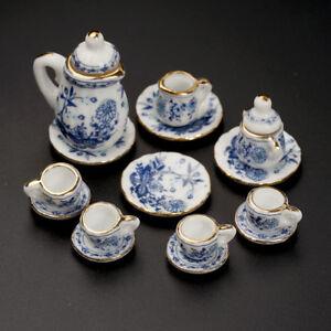 15X-Dining-Ware-Ceramic-Blue-Flower-Set-for-1-12-Dollhouse-Miniatures-Decor
