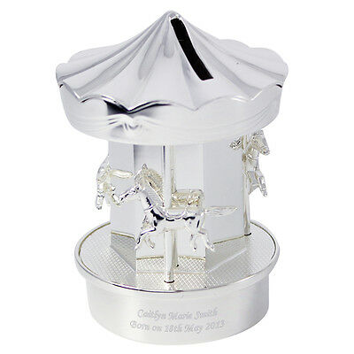Personalised Silver Finish Carousel Money Box, Boy - Girl Birthday, Christening