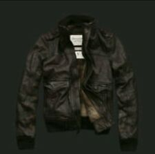 ABERCROMBIE & FITCH SLANT ROCK M LEATHER FLIGHT JACKET AVIATOR BOMBER